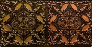 Amazing detailed closeup view of dark brown color interior ceiling tiles luxury background Royalty Free Stock Photos