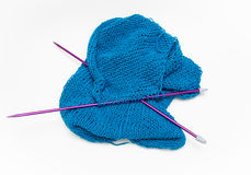 Amazing detailed  view of yarn and needles cotton knitting craft Stock Image