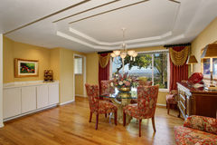 Amazing dining room interior in American classic style. Stock Photo