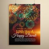 Amazing diwali festival fireworks display. Flyer design template. Vector Royalty Free Stock Images