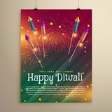 Amazing diwali festival flyer template with fireworks and flying. Rockets Stock Photography