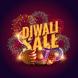 Amazing diwali sale voucher with festival crackers and fireworks. Vector Stock Photo