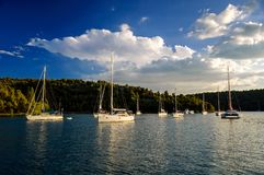 Amazing dock near Sibenik city of Croatia. Northern part of Dalm Royalty Free Stock Photos