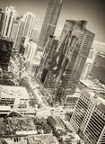 Amazing Downtown Miami skyline on a beautiful day, view from city rooftop royalty free stock photography