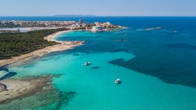 Amazing drone aerial landscape of the charming beach Es Trencs. It has earned the reputation of Caribbean beach of Mallorca. Spain stock image