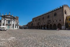 Amazing Ducal Palace Facade in the Main Square of the city, Piazza Sordello and Cathedral. Amazing Ducal Palace Facade in the Main Square of the city, Piazza royalty free stock photo