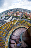 Amazing effect - round tower stairs make one feel sick Royalty Free Stock Photo
