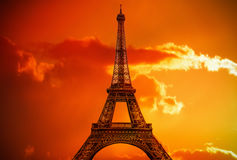 Amazing Eiffel Tower in fire of sun Royalty Free Stock Photo