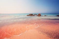 Amazing Elafonissi Beach on Crete, Greece. Pink Sand, Blue Water stock photos