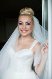 Amazing elegance cute stilysh blonde bride is posing on the bac Royalty Free Stock Images
