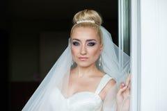 Amazing elegance cute stilysh blonde bride is posing on the bac Stock Photos