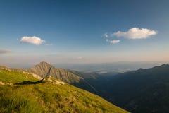 Amazing evening on ridge of the summer mountains Royalty Free Stock Photos