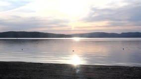 Amazing evening sky sunset on lake video stock video
