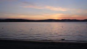 Amazing evening sky sunset on lake video stock video footage