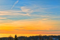 Amazing evening with sunset in Eagle mountains. Beautiful sunset within inversion Stock Images