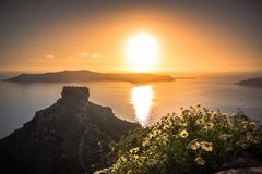 Amazing evening view of Fira, caldera, volcano of Santorini, Greece. Royalty Free Stock Photography