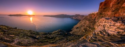 Amazing evening view of Fira, caldera, volcano of Santorini, Greece. Royalty Free Stock Image