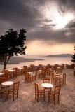 Amazing evening view of Fira, caldera, volcano of Santorini, Greece. Stock Photography