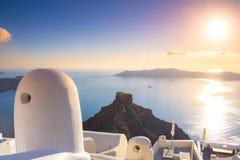 Amazing evening view of Fira, caldera, volcano of Santorini, Greece. Stock Image