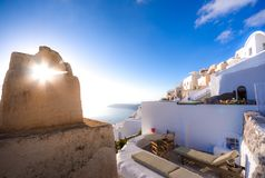 Amazing evening view of Fira, caldera, volcano of Santorini, Greece. Stock Photography