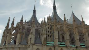 Amazing facade of gothic cathedral in Czech Republic, St Barbara Church in Kutna Hora. Panoramic shot stock video