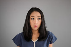 Amazing face Asian woman. Asian woman see something amazing Stock Photography