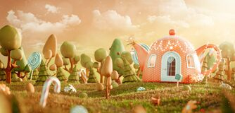 Free Amazing Fairy House In Shape Of Teapot In The Magical Forest. Royalty Free Stock Photo - 180752545