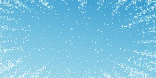 Amazing falling snow Christmas background. Subtle. Flying snow flakes and stars on transparent blue background. Alive winter silver snowflake overlay template stock illustration