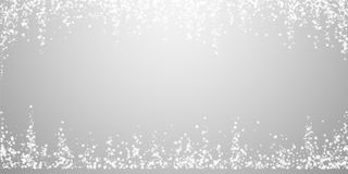 Amazing falling snow Christmas background. Subtle. Flying snow flakes and stars on light grey background. Admirable winter silver snowflake overlay template royalty free illustration