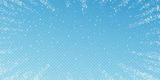Amazing falling stars Christmas background. Subtle. Flying snow flakes and stars on blue transparent background. Beautiful winter silver snowflake overlay royalty free illustration