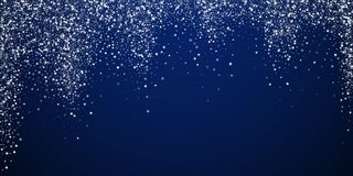 Amazing falling stars Christmas background. Subtle. Flying snow flakes and stars on dark blue night background. Awesome winter silver snowflake overlay template vector illustration