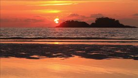 Amazing fiery sunset over a tropical island. Koh Chang. Thailand stock video