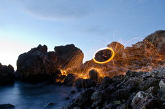 Amazing fire light painting Stock Photography