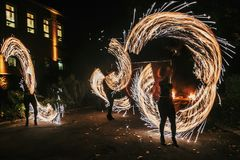 Free Amazing Fire Show At Night At Festival Or Wedding Party. Fire Da Stock Photo - 117880520