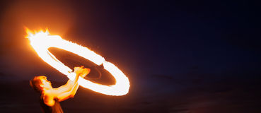 Amazing fire show at night Royalty Free Stock Image