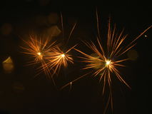 Amazing fireworks. Beautiful fireworks in the dark night Stock Images