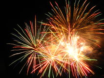 Amazing fireworks. Beautiful fireworks in the dark night Stock Photography