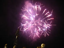 Amazing fireworks. Beautiful fireworks in the dark night Royalty Free Stock Photo