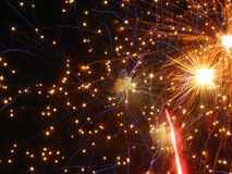 Amazing fireworks. Beautiful fireworks in the dark night Royalty Free Stock Photos