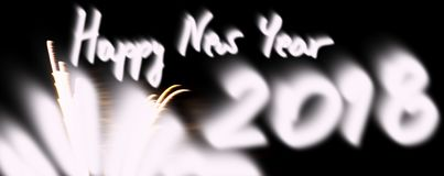 Amazing fireworks in the black sky, with handwritten wishes Happ. Y New Year 2018, grand spectacle at the beginning of the new year, party Royalty Free Stock Image