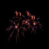 Amazing fireworks in dark background. Amazing fireworks isolated in dark background Royalty Free Stock Photo