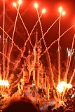 Disneyland castle. Amazing fireworks at Disneyland castle at night. Mesmerising Royalty Free Stock Image