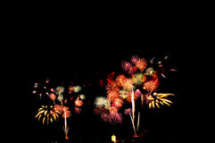 Amazing fireworks isolated dark sky Stock Photo