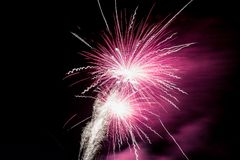 Amazing fireworks during the night stock photography