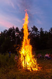 Amazing flames of a campfire Stock Photo