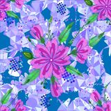 Amazing seamless floral pattern with bright colorful flowers and leaves on a blue background. The elegant the template for fashion. Prints royalty free stock images
