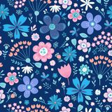 Amazing Floral Vector Seamless Pattern Of Flowers Stock Image