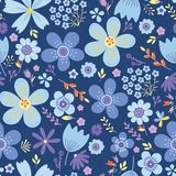 Amazing Floral Vector Seamless Pattern Of Flowers Royalty Free Stock Photography