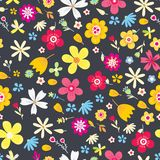 Amazing Floral Vector Seamless Pattern Of Flowers Stock Photography