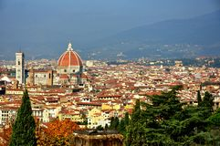 Amazing Florence city panorama, Italy. Buildings and bridges on the river Arno in Florence city, Italy. Firenze panorama from Piazzale Michelangelo royalty free stock photo